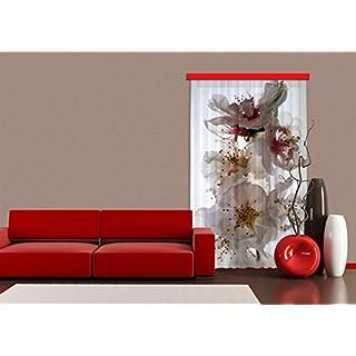 Gardine/Vorhang FCP L 6506 Blumen, 140 x 245 cm, 1-teilig