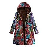 TianWlio Jacken Parka Mäntel Herbst Winter Mit Kapuze Taschen Vintage Übergröße Mäntel Warme Outwear Blumendruck Mäntel (2XL, Mehrfarbig)
