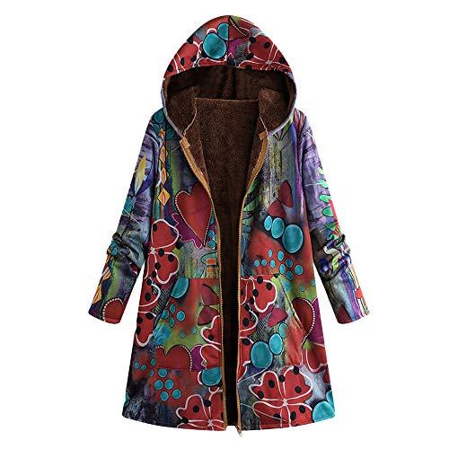TOPKEAL Jacke Warme Mantel Damen Herbst Winter Sweatshirt Blumendruck mit Kapuze Kapuzenjacke Hoodie Taschen Pullover Übergroße Outwear Coats Mode Tops ...