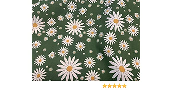 10 Multi Colour Petal Shaped Buttons with Every Order Polycotton Fabric with A White Daisy Summer Petals Sold by The Metre Forest Green