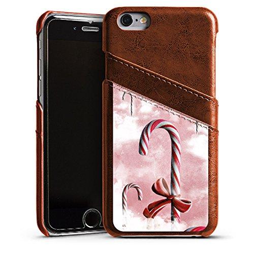Apple iPhone 5s Housse Étui Protection Coque Sucreries Bonbon Ciel Étui en cuir marron