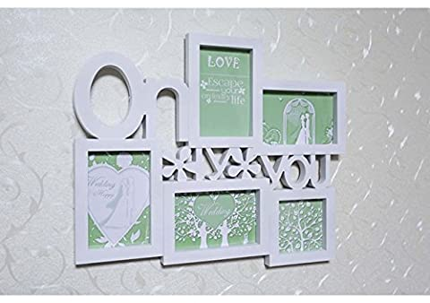 Standing & Wall Mounted 5 Picture Photo Frame ONLY YOU creative white multi frame , white 44*35cm