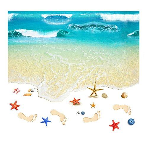 Preisvergleich Produktbild Pingxia Fisch-Teich Wandtattoo Seestern Fußabdruck Wandaufkleber Abnehmbare Wandsticker für Stock Dekoration