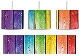 Bunte Zaunslatten inkl. Lampenfassung E27, Lampe mit Motivdruck, tolle Deckenlampe, Hängelampe, Pendelleuchte - Durchmesser 30cm - Dekoration mit Licht ideal für Wohnzimmer, Kinderzimmer, Schlafzimmer