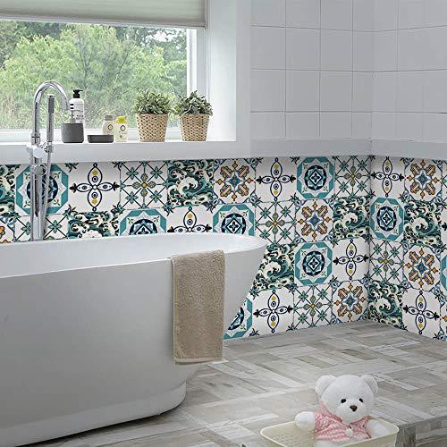 Yoillione Marokkanischer Fliesenaufkleber Mosaik Fliesenaufkleber Wasserdicht für die Küche,Vinyl Sticker Fliesen Selbstklebend Fliesenfolie Badezimmer,Bad Fliesensticker 20x20CM -