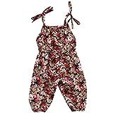 Wang-RX Neugeborenen Kleinkind Baby Mädchen Kleidung Blumendruck Strampler Overall ärmellose Sommerkleidung
