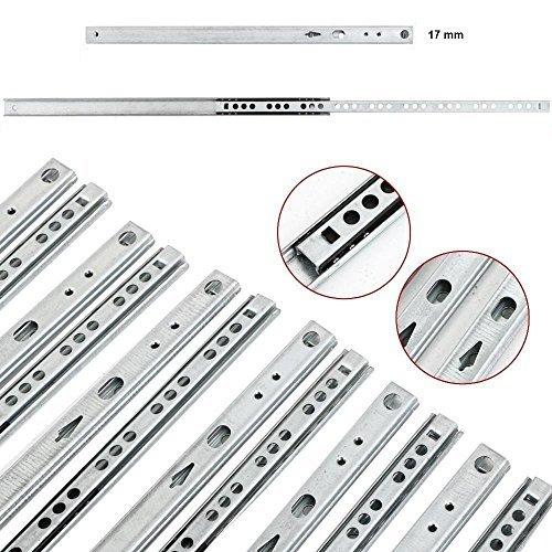 5 Paar GedoTec® Teleskopauszug Schubladenauszug 17 mm Teleskopschiene für Schubladen | Länge: 278 mm | Stahl verzinkt | Teilauszug | Teleskopauszug mit Tragkraft 12 kg | Markenqualität für Ihren Wohnbereich Hettich-schubladen 12