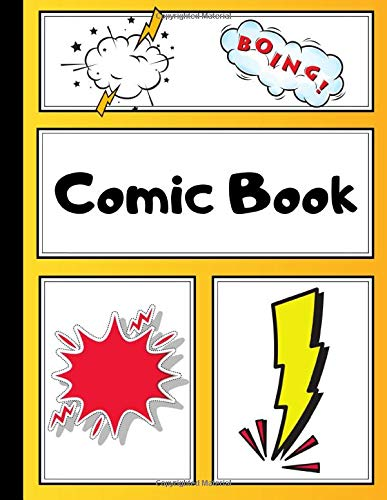 Comic Book: Art Drawing Comic Strips for Kids | Make Your Own Comics | 200 Pages, Extra Large | Yellow Orange