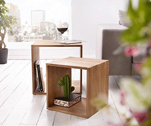 DELIFE Würfelregal Teva Teakholz Natur 50x50 cm Massivholz 2er Set Cube Beistelltisch