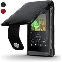 igadgitz Negro Funda Cuero Flip Piel para Sony Walkman NW-A35 NW-A40 NW-A45 Reproductor de MP3 Case Cover con Cierre Magnético + Protector de Pantalla
