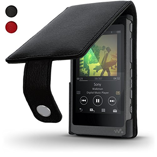 igadgitz Schwarz Leder Flip Tasche Schutzhülle für Sony Walkman NW-A35 NW-A40 MP3-Player Etui Case Cover mit Magnetverschluss + Displayschutzfolie