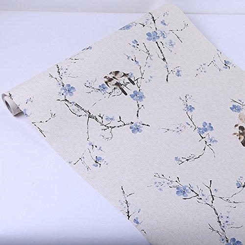 Preisvergleich Produktbild WEGO JK Einfache Europäische PVC Tapete Prägung Mustertapete 0.6*5m für Fernsehhintergrund/Schlafzimmer/Sofahintergrund/Hotel/The blue flower magpies