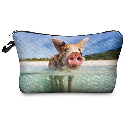 Federmäppchen Kosmetiktasche Federtasche Stiftemappe Make Up Täschchen Full Print All Over Bag Schwein Water Pig [009]