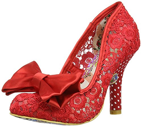Irregular Choice Mal E Bow Red Womens Hi Heels Court Shoes-40