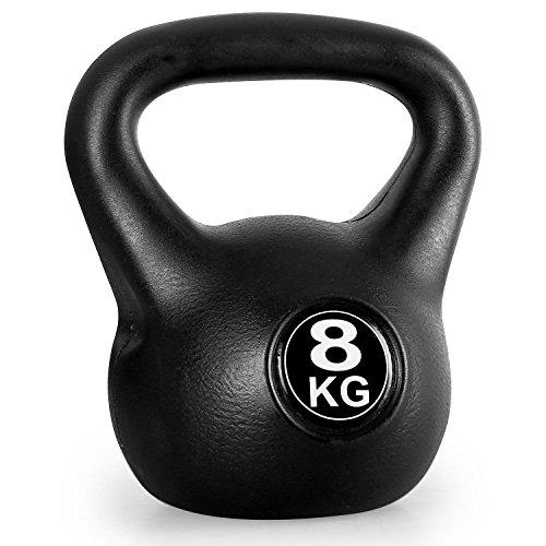 Klarfit Kettlebell 20kg 16kg 12kg 10kg 8kg oder 6kg Kugelhantel mit Kunststoffmantel für Gleichgewichts- Koordinations- Kraft- und Ausdauertraining schwarz
