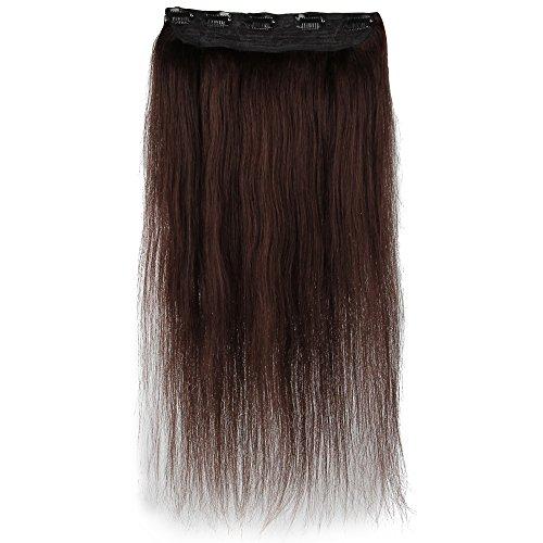Beauty7 100g Extensions de Cheveux 8 Clips Humains à Clip 100% Remy Hair Haute Qualité #2 Couleur Chocolate Foncé Longueur 60 cm