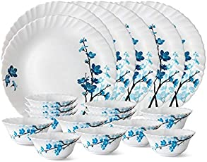 LARAH Glass Borosil Mimosa Thali Set (White) - 18 Pieces