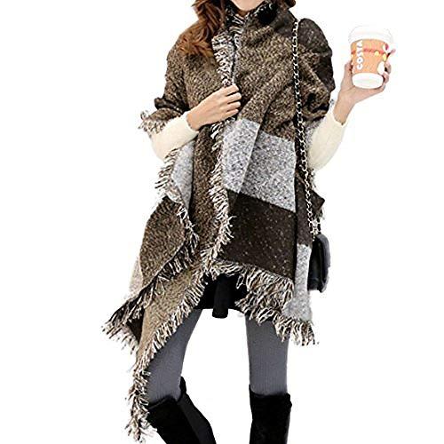 FENTI Damen Maedchen Langer Schal 250cm*65cm Deckenstoffschaln Schalcape Winter Schal mit Fransen und spitzen Enden XXL Kaffee und Grau -