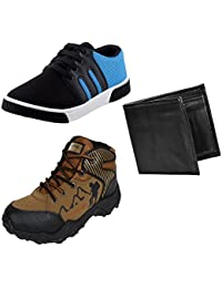 Earton Men Combo Pack 3 Casual With Sports Shoes & Wallet