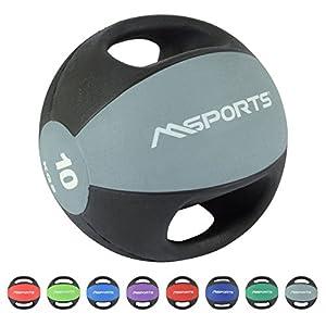 MSPORTS Medizinball Premium mit Griffe 1 – 10 kg – Professionelle Studio-Qualität Gymnastikbälle