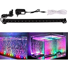 Xcellent Global Luz de 18 LED RGB multicolor LED para acuario Lámpara de burbujas resistente al agua con flash lento Flash 46 CM con enchufe europeo LD081E