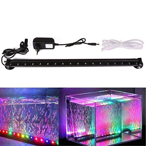 Xcellent Global Multi Farben 18 LED Aquarium Aquariumlicht RGB Luftblasen Lampen wasserfest Unterwasserlicht langsames Aufleuchten 46 cm mit UK Stecker M-LD081