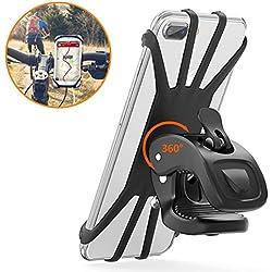 """Cocoda Support Téléphone Vélo, Support Moto de Guidon Universel Rotatif à 360 Degrés Anti-Vibrations en Silicone Réglable 4.5""""-6.5"""" (Noir)"""