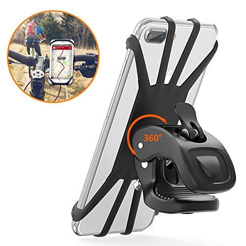Vobon Handyhalterung Fahrrad, 360° Rotation Handyhalter für alle 4,5 - 6.5 Zoll Handys, Schwarz (Schwarzer Fall 4 Gummi-iphone)