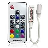 Tesfish DC 5V-24V 12A RGB LED Steuerpult Installationssatz - Inline LED Steuerpult 17 Schlüssel RF drahtlose Direktübertragung für 5050 RGB LED Streifen