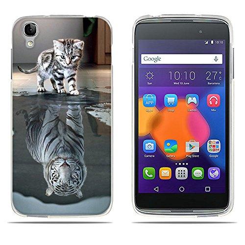 Fubaoda Alcatel idol3 Hülle,[Katze Wird Tiger] Anti-Dropping PC Handy-Tasche Back-Cover Ultra Slim Weich Silikon Transparent Designs Schutzhülle für Alcatel idol3(4.7)