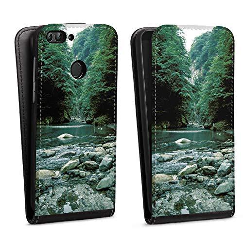 DeinDesign Flip Case kompatibel mit Huawei P smart (2018) Tasche Hülle Fluss Forest Wald