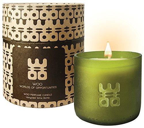 WOO Bougie d'aromathérapie en Cire d'abeille écologique, Format Grande, fabriquée à la Main, dans la Boîte-Cadeau Exquise | Parfum Anti-Stress Tranquility | 50 Heures
