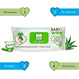 Bebe Nature Biodegredable, Alcohol Free, Paraben Free Wet Baby Wipes With Aloe Vera & Vitamin E- 72's
