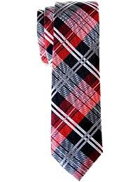 Retreez Elegant Tartan Plaid Check Woven Microfiber Skinny Tie - Various Colors