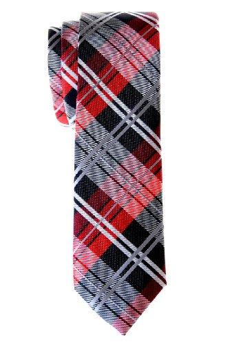 Retreez Herren Schmale Gewebte Krawatte Elegante Tartan Plaid Karo 5 cm - schwarz und rot