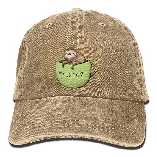 Men and Women A Damned Adorable Sloth and Coffee Vintage Jeans Baseball Cap -