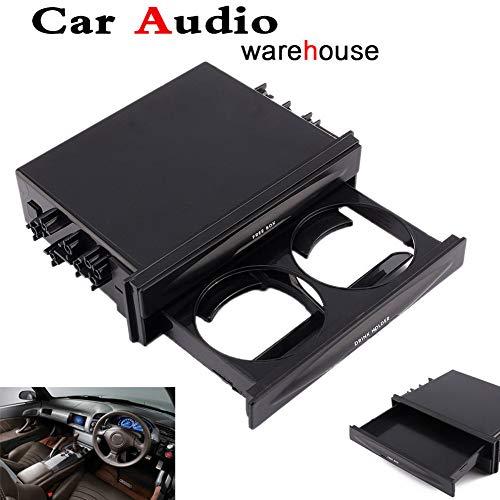 SADA72 Auto Auto Doppel-Din Radio Pocket Getränkehalter + Aufbewahrungsbox, Kunststoff Double DIN Auto Zubehör Becherhalter Aufbewahrung Organizer für Mini-Handy, MP3-Player, Getränke etc.