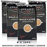 O'ccaffè Espresso Bar   starker gemahlener Kaffee aus italienischem Familienbetrieb   perfekt für Cappuccino & Latte   4x250g (1kg)
