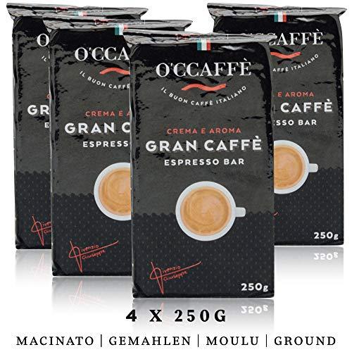 O'ccaffè Espresso Bar | starker gemahlener Kaffee aus italienischem Familienbetrieb | perfekt für Cappuccino & Latte | 4x250g (1kg)