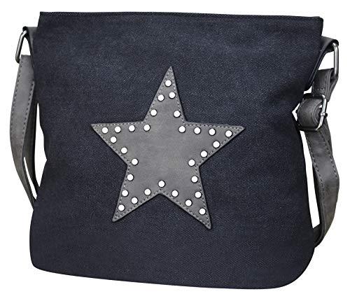 Schwarze Totenkopf Handtasche (PiriModa Damen Stern Handtasche Schultasche Clutch TOP TREND Tragetasche (M2 Schwarz/Grau))
