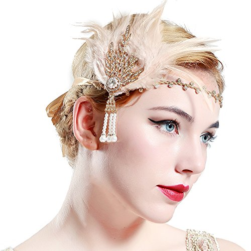 Champagner Flapper Kostüm - BABEYOND Damen Feder Stirnband 1920s Stil Flapper Art Deco Inspiriert von Great Gatsby Blatt Blinkende Kristalle Haarband (Champagner)