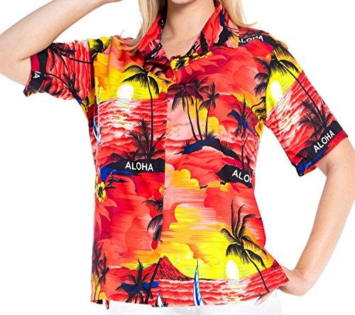 La Leela Hawaiische Bademoden Hemdkleid mit Kurzen �Rmeln Bluse Tank Verschleiern Taste Nach Unten l Damen (Taste Nach Unten Shirt Damen)