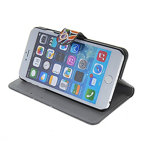 iPhone 6 Plus Schutzhülle,COOLKE [001] [Colour Flower] Flip Cover für Apple iPhone 6 Plus (5.5 Inch) Schutzhülle Hülle Schutzschale Schale Handytasche Tasche Etui Case 001
