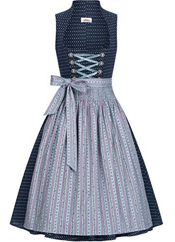 Almsach Damen Trachten-Mode Midi Dirndl Frieda traditionell Gr.32-54, Größe:42, Farbe:Blau/Hellblau