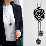 YouBella Stylish Latest Traditional Jewellery Silver Plated Pendant for Women (Black)(YBNK_5470)