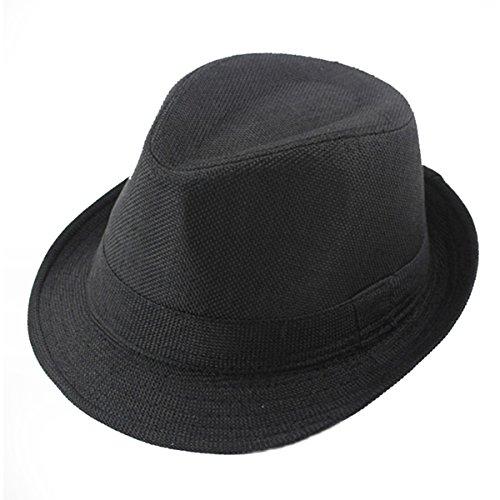 Queenbox® Kinder Fedorahüte Einfarbig Leinen Jazz Cap Kinder Unisex Trilby Hüte für Mädchen Jungen Fedorakappe - Schwarz Fashion Trilby Hut