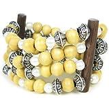 Natural Wood 4 strand stretchy Bracelet
