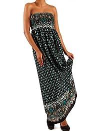 Damen Maxikleid Hippie Bandeau Long Dress Strandkleid Trägerlos Langes Kleid für Frühling und Sommer Jumper aus aus 100% Viscose Jumper Freizeit-Kleid mit Allover-Druck