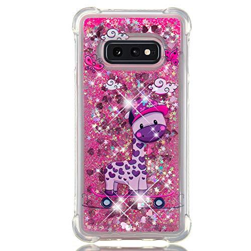 Miagon Flüssig Hülle für Samsung Galaxy S10e,Glitzer Weich Treibsand Handyhülle Glitter Quicksand Silikon TPU Bumper Schutzhülle Case Cover-Skateboard Giraffe