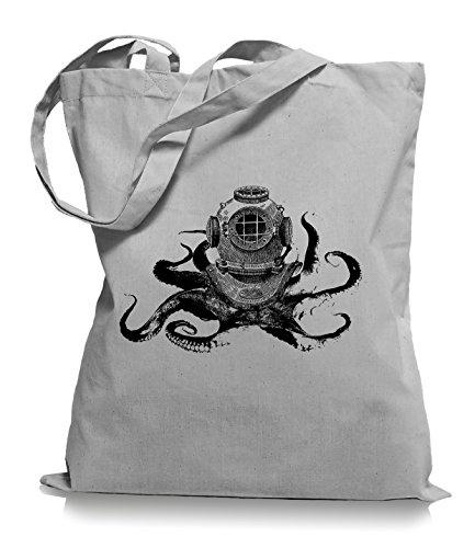 Ma2ca® Octopus Diver - Jutebeutel Stoffbeutel Tragetasche / Bag WM101 Light Grey